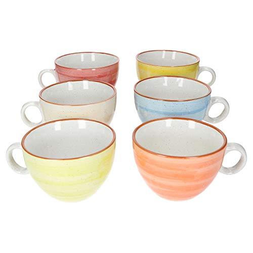 MamboCat Colorido 6-er XL Kaffee-Becher-Set I Porzellan-Tasse mit Strudel-Dekor in 6 Farben I Jumbo-Tee-Tasse - Tea & Coffee Mug I 350ml Kaffee-Tassen-Set 6 St. I Creme Gelb Orange Rot Lemon-Grün Blau