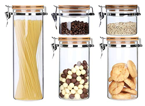 KKC Glasdosen mit Bambusdeckel Luftdicht - Müsli Aufbewahrung Glas - Spaghetti Aufbewahrung Glas - Glasbehälter für Kaffeebohnen,Müsli,Spaghetti - Aufbewahrung Lebensmittel Glas - 5er Set