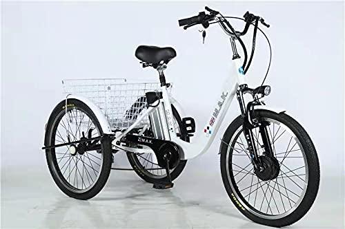 Triciclo eléctrico para personas mayores con batería de litio de 24 pulgadas...