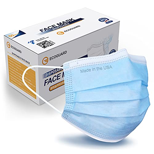 Made in USA, ASTM Level 3 Performance Proven in Nelson Labs Studies, ECOGUARD 3-ply Disposable Face Mask, Breathable, 50 Pack (Blue, Adult)