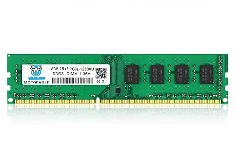motoeagle Memoria RAM DDR3 de 8 GB, 1600 MHz, UDIMM, 2Rx8, PC3, PC3L, 12800U, 1,35 V, 240 pines, sin búfer de doble rango sin ECC