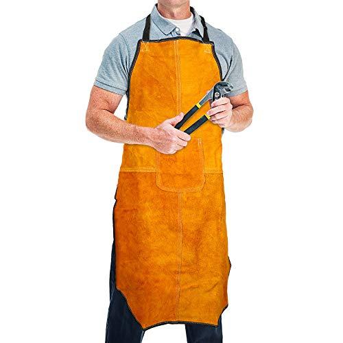 ENJOHOS flammhemmende Schweißerschürze aus Leder 60 x 90 cm Arbeitskleidung Schutzkleidung hitzebeständig mit Tasche einstellbare Band beim Schweißen