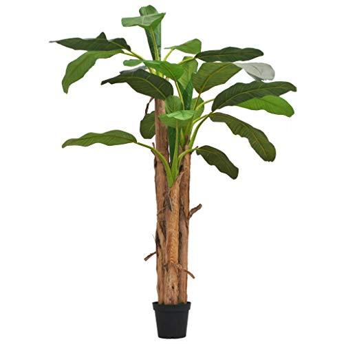 Festnight Planta de Artificial Árbol Bananero con Maceta Tallos de Madera Reales y Hojas de Plástico Hogar Decoración 250cm Verde