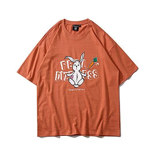 DREAMING-Una Sudadera de Verano de Manga Corta con una Camiseta Suelta de algodón de Cuello Redondo Estampada para Hombres y Mujeres M