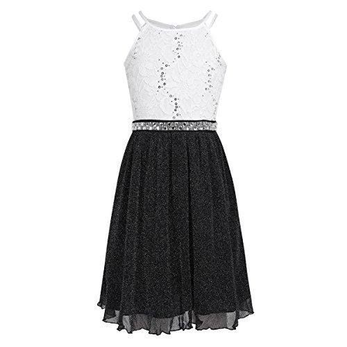iEFiEL Festliches Kleid Mädchen Kinder Spitzen Kleid Hochzeit Prinzessin Kleider Tüll Festzug Kleid Blumenmaedchenkleid kurz Partykleid Schwarz & Weiß 152