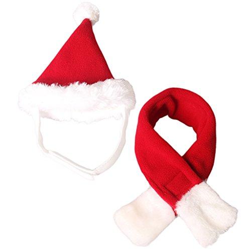 Sharplace 1 x Haustier Weihnachten Hüte Polyster schal Wärme Mini Anzug für Hunde Katzen - Rot und weiß -L