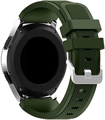 Abasic kompatibel mit Huawei Watch GT/GT 2e / GT 2 (46mm) Armband, Silikon Uhrenarmband Sportarmband (22mm, Armeegrün)