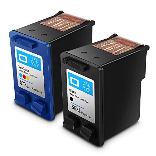 Remanufactured Cartuccia d'inchiostro HP 56 57 HP 56XL 57XL rigenerata HP 56 57 Cartuccia di inchiostro ad alta resa compatibile con stampante HP (1 Nero,1 Tricromia)