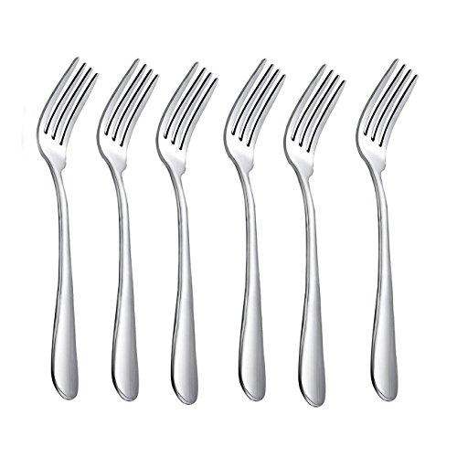 HornTide 6-Piece Dinner Forks Set Tenedores 4-Tines Tabla Tenedor cubiertos de acero inoxidable 7-Inch 18cm