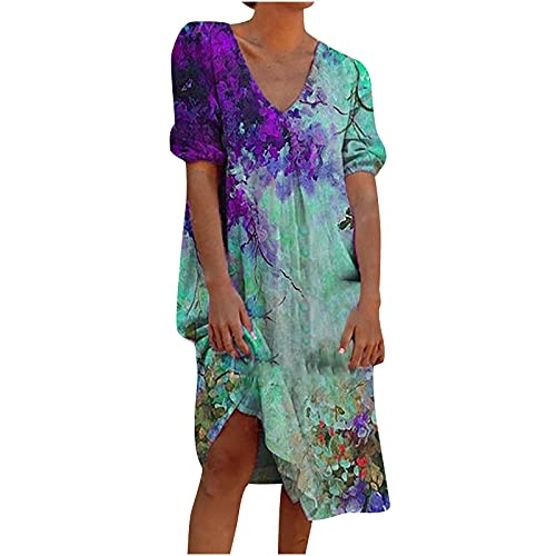 Sun Dresses Women Summer Plus Size Tank Dress Casual V-Neck Short Sleeve Floral Boho Beach Dress