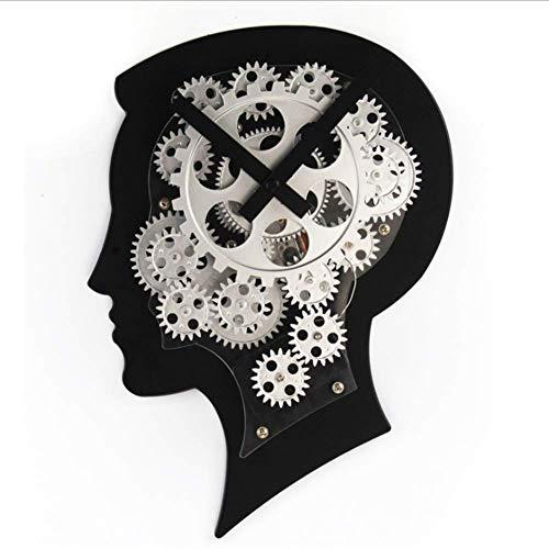 WQSFD Getriebe Kreative wanduhr Gehirn Modell wanduhr Maschine Kopf Getriebe Dynamische Uhr Kreative persönlichkeit Geschenk Handgemachte Uhr 22 * 7,6 * 31 cm