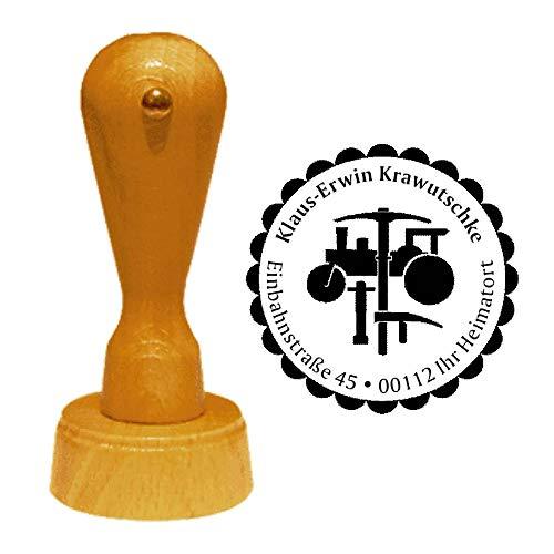 Stempel adresstempel » Stratenbauer » diameter ca. Ø 40 mm - met persoonlijk adres, motief en sierrand - beroep straatbouw tong teken