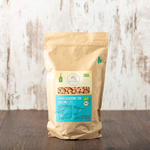 süssundclever.de® Bio Aprikosenkerne | süß | geschält | 1,0 kg | plastikfrei und ökologisch-nachhaltig abgepackt