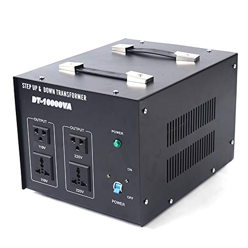 DT-10000 10000W Voltage Converter 110V to 220V Step Up/Down Transformer Voltage Converter Power Transformer Electric Appliances with Fuse or Overload Protection Switch