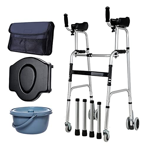 Andador De Bipedestación,con WC con Asiento,Plegable Movilidad Ayuda A Caminar,4 Ruedas,Andador para Ancianos Sin Ruedas,aleación De Aluminio Puede Soportar 400ib