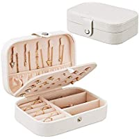 Caja Joyero Pequeña,Portátil Joyero Viaje Cajas para Joyas Jewelry Organizer para Mujer, para Anillos, Aretes, Pendientes, Pulseras y Collares-Blanco (Blanco)