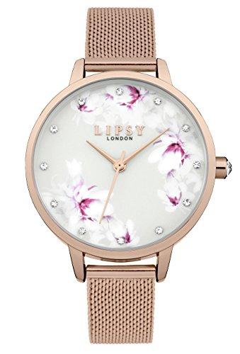 Lipsy Damen Datum klassisch Quarz Uhr mit Aluminium Armband LP577