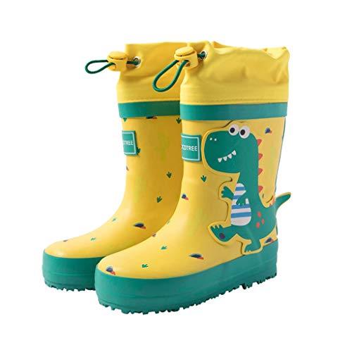 Botas de Lluvia Niños Niñas Botas de Agua Unisex Impermeables Botines Cierre con Cordón Zapatos de Caucho Encantadora Forma 3D
