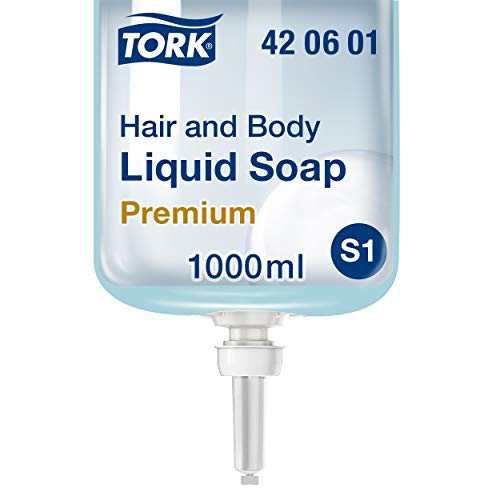 Tork 420601 Hair & Body Mini vloeibare zeep voor zeepdispenser S2 / lichtblauw 2 in 1 Premium douchegel en shampoo / 1 x 1000 ml