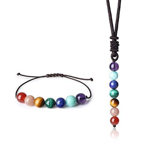 coai Geschenkideen Unisex 7 Chakra Halskette und Amband 2pcs Yoga Schmuck