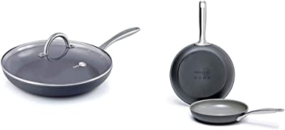 """GreenPan Lima 12"""" Ceramic Non-Stick Covered Frypan, Gray - CW0004157 & Chatham Ceramic Non-Stick Open Frypan Set, 8"""" and 10"""", Grey -"""