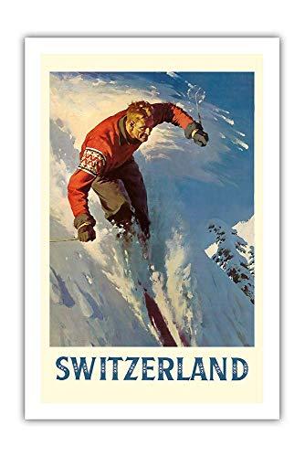 Switzerland Alps Skiing Póster de Pared Metal Creativo Placa Decorativa Cartel de Chapa Placas Vintage Decoración Pared Arte para Carretera Bar Café Tienda