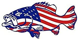 Printed american flag bass patriotic fishing vinyl decal sticker for any smooth surface indoor or outdoor use. (8