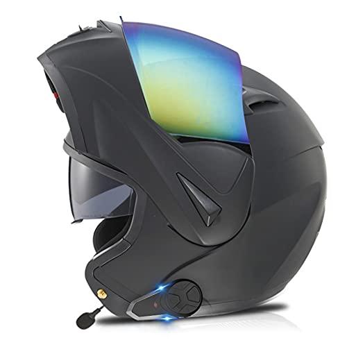 Bluetooth Modular Casco Moto Mujer Hombre, Casco de Moto Scooter con Doble Visera, ECE Homologado Casco de Motocicleta Integrado con Intercomunicador FM/Comunicación 1000 m