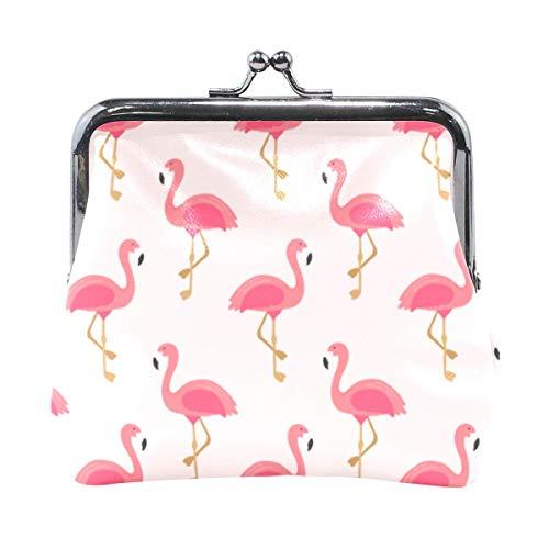 Monedero Flamingo Monedero Monedero con Hebilla Kiss-Lock Bolsa de Dinero Linda Titular de Cambio Retro Monedero pequeño Monedero Tarjetero