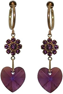 CERCEAU HEARTS & FLOWERS Gold Plated lilac Crystal Clip On Earrings