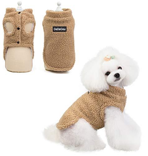 RC GearPro Traje de Cachorro Cordero Cachemira Abrigo Chaleco Chaqueta Ropa para Mascotas Perro Abrigo de Invierno cálido para Perros (M, Caqui)