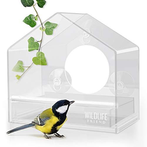 WILDLIFE FRIEND | Acryl Fenster-Futterhaus mit herausnehmbarer Futterkassette - mit Saugnäpfen, Futterspender, Vogelfutterhaus für Meisen, Spatzen & kleineren Wildvögel [Flexi]