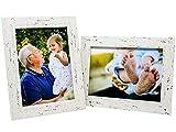 Selldorado Set di 2 cornici per foto da 13 x 18 cm, in legno bianco – Cornice portafoto con piedistallo in stile shabby chic vintage (C) bianco