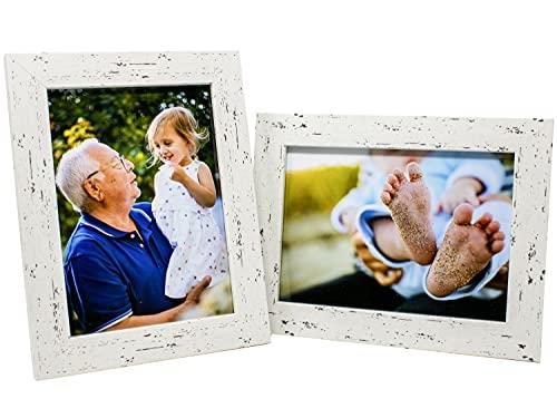 Selldorado® 2X Bilderrahmen Set 13 x18 cm aus Holz in Weiß - Fotorahmen mit Standfuß im Shabby Chic Vintage Erscheinungsbild (C) Weiß