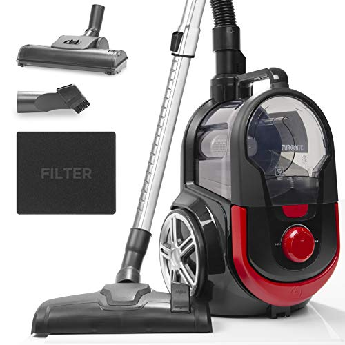 Duronic Bagless Cylinder Vacuum Cleaner VC7020 | Cyclonic Pet Carpet and Hard Floor Cleaner | Max 800W | HEPA Filter | Extendable Hose | Turbo Brush & 2-in-1 Tool Included [Energy Class A+]