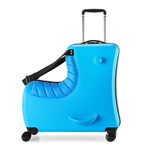 OMZBM Upgrade Kid's Ride on Travel Suitcase & Hand Luggage Bag with Leather Seat,Portable Carry-On Rolling Storage Bag,Foldable Trolley, Ride on Luggage Stroller,Kids Rest Luggage Sets,24 Inch,Blue