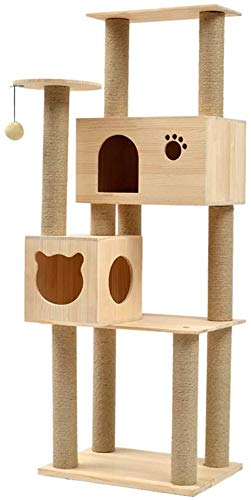 Cat | Cat Tree and Tower, Wooden cat Climbing Frame, Large cat Shelf, Toy Hanging Ball, Luxury Apartment and cat Jumping Platform, cat Activity Center, cat Toy Cat Tree and Apartment, Gym exercise ab workouts - shap2.com