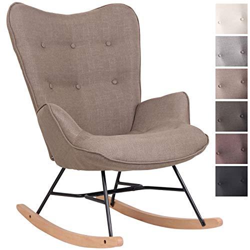 CLP Chaise A Bascule Sanka en Tissu I Fauteuil A Bascule avec Support en Métal I Fauteuil De Relaxation avec Patins en Bois Taupe
