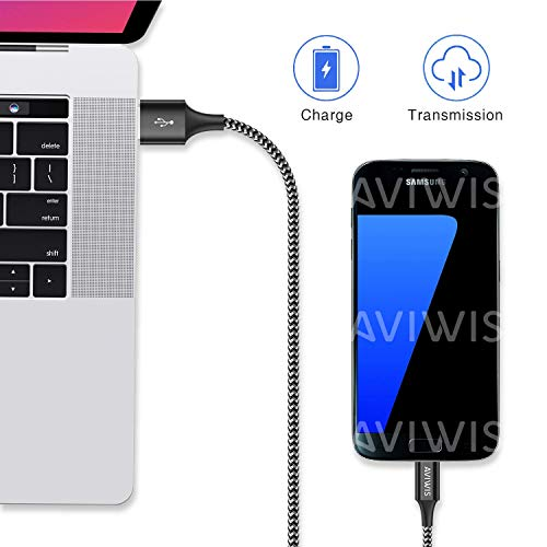 AVIWIS Micro USB Kabel [3Pack 2M] Nylon Micro USB Schnellladekabel High Speed Android Handy Ladekabel Kompatibel für Samsung Galaxy S7/S6/J7/Note 5, Xiaomi, Huawei, Nexus, Nokia, Kindle, Echo Dot