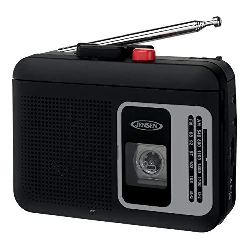 Jensen MCR-75BLK Modern Retro Portable AM/FM Radio Personal Cassette Player Compact Lightweight Design Stereo AM/FM Radio Cassette Player/Recorder & Built in Speaker (Black)