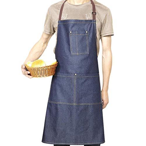 JJFU Schort kookschort 1 stuk werkschort instelbaar professioneel multi-pocket denim schort voor supermarkt salon koffie bar