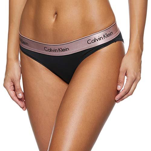 Calvin Klein Damen Bikini Tanga, Schwarz (Black W. Rose Gold Ground GTC), 34 (Herstellergröße:XS)