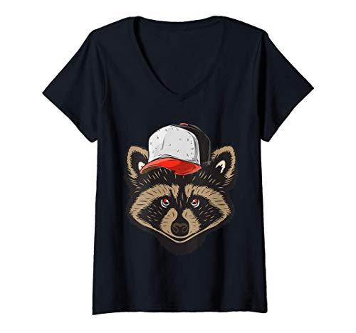 Mujer Raccoon Mapache con gorra de animales bonitos Camiseta Cuello V
