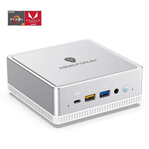 UM300 Windows 10 Mini PC, AMD Ryzen 3 3300U 4 Cores/4 Threads Prozessor, 8 GB DDR4 256GB SATA SSD Radeon Vega 6 Graphics Mini Desktop Computer, Unterstützung Intel®Wi-Fi 6/Triple Output 4K@60 Hz/BT5.1