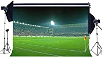HDビニール10x7ftサッカー場の背景インテリアスタジアムの背景群衆の舞台照明緑の草の牧草地オリンピック少年のための写真の背景スポーツマッチ学校ゲーム写真スタジオ小道具521