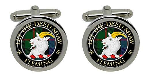 Fleming Clan écossais pour homme Écusson Chrome Boutons de manchette avec coffret cadeau
