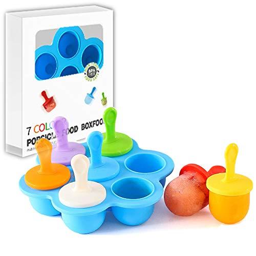 ZoneYan Eisformen Mini, Eisformen Bpa Frei, Eisform Silikon Kinder, Eisförmchen Popsicle Formen Set, EIS am Stiel Bereiter, 7 Mulden Eisform mit Kunststoffstäbchen