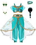 LOBTY Robe Princesse Déguisement Fille Aladdin Jasmine Enfant Costume Cosplay Conte de Fée Robe Jupon de Soirée Halloween Fêtes Noël Anniversaire Carnaval Cérémonie Set 2Pcs