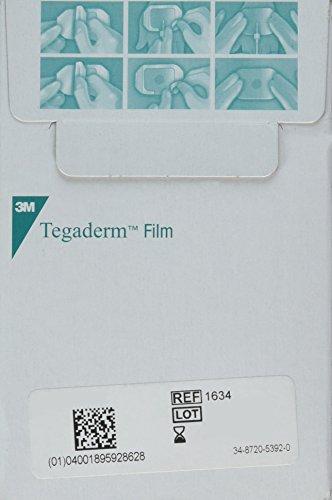 "3M Tegaderm 1624W Transparent Film Dressing 2 3/8"" x 2 3/4"" - Window Frame Box: 100"