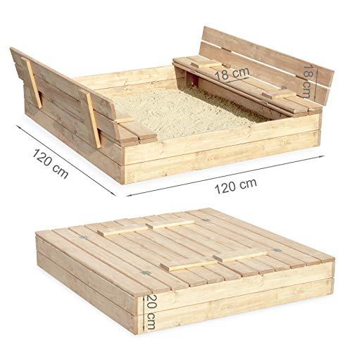 Sandkasten Sandbox Sandkiste mit Klappdeckel Sitzbänken 120x120x20 Kiefernholz mit Anti-Unkraut Bodenplane Deckel und Bank Buddelkasten Quadratisch Gartenspiel Natur Nicht lackiert - 5